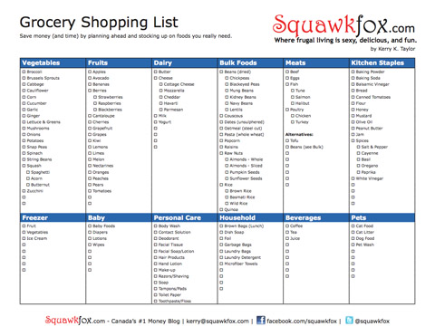Printable Grocery Shopping List - Squawkfox
