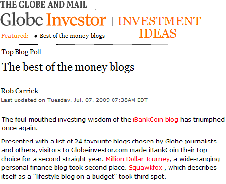 globe and mail poll best money blogs