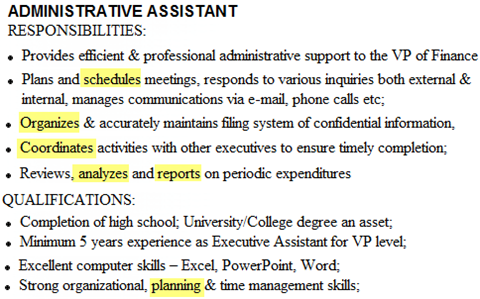 Good Action Verbs List  Executive Assistant Job Description Resume