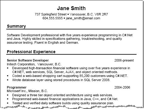 sample resume format. Chronological Sample Resume