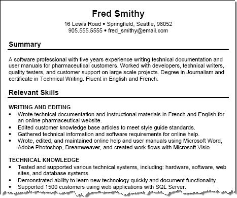 Show Sample Of Resume
