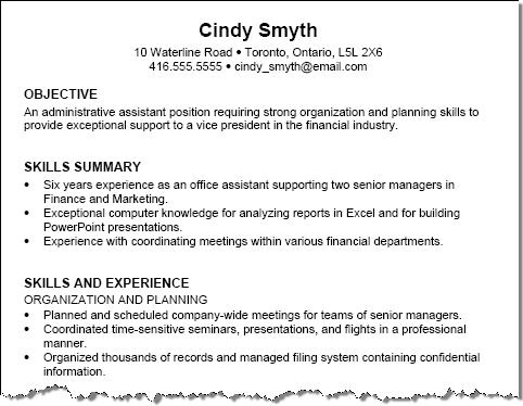 Work resume sample