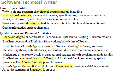Software_technical_writer_job_post_highlight  Key Words For Resume