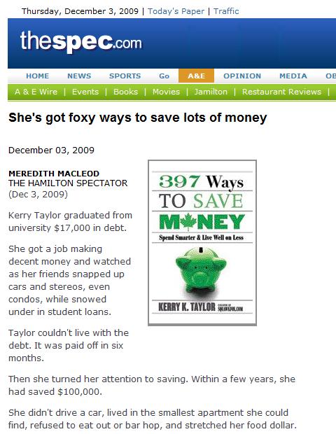Hamilton Spectator Kerry K. Taylor 397 Ways to Save Money
