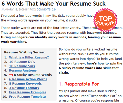 6 words that make your resume suck
