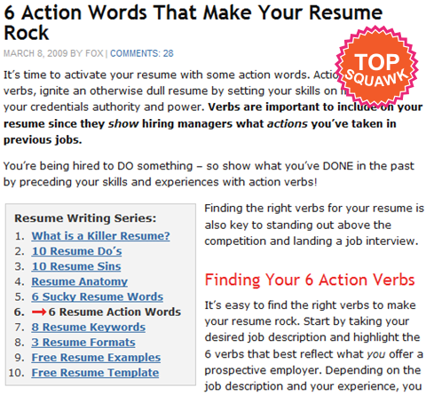 resume words action words