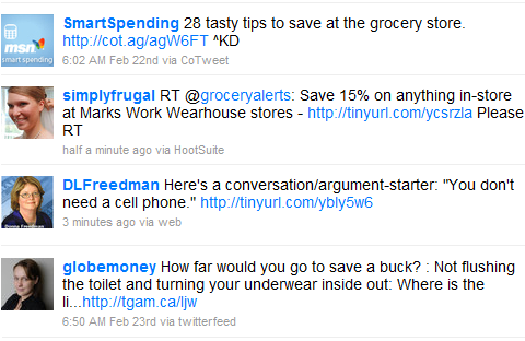 twitter money saving tips frugality