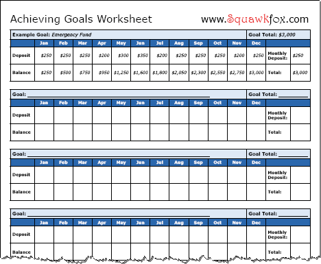 How to Set Financial Goals 3 Financial Goals Worksheets Squawkfox – Sample Goal Tracking