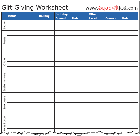 gift giving worksheet