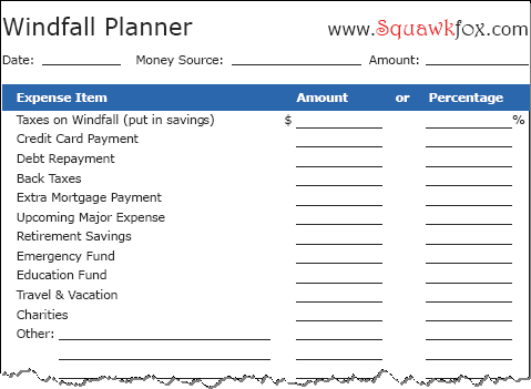 Don't blow your dough! Use the Windfall Planner Worksheet - Squawkfox