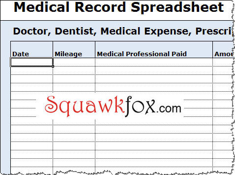 medical expense tracking spreadsheet squawkfox