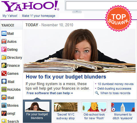 Yahoo Front Page Squawkfox