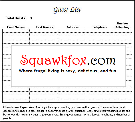 Worksheets Wedding Guest List Worksheet free wedding budget planner spreadsheet squawkfox guest list