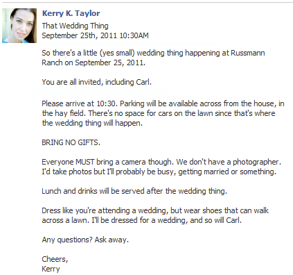 So I invited the guests to our wedding on Facebook