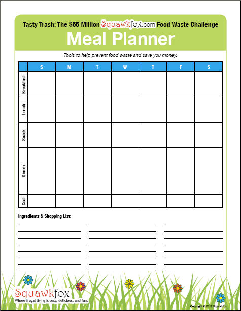 Your Meal Planning Template  Meal Planners  For Kids  Squawkfox
