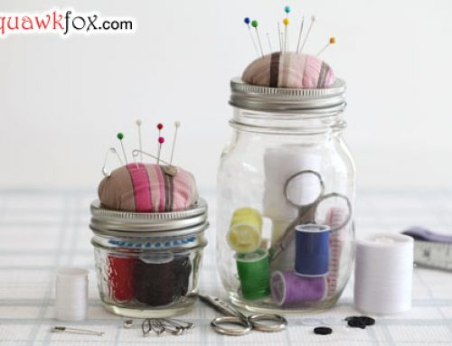 Make a Mason jar sewing kit to mend costly clothing repairs fast