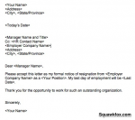 Resignation Letter Example