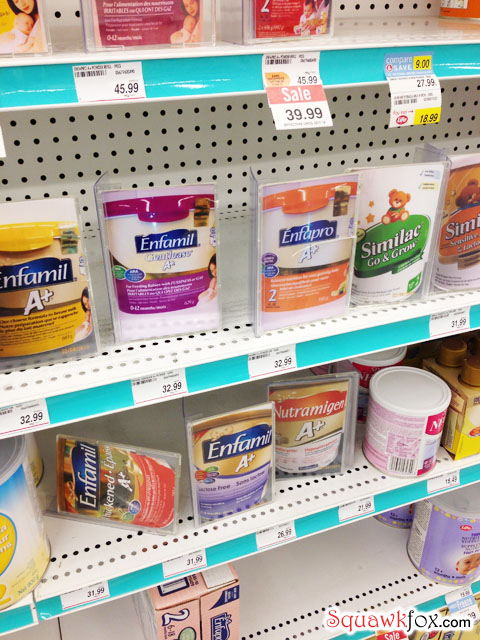 Shoppers Drug Mart sells baby formula over the counter to presumably prevent theft.