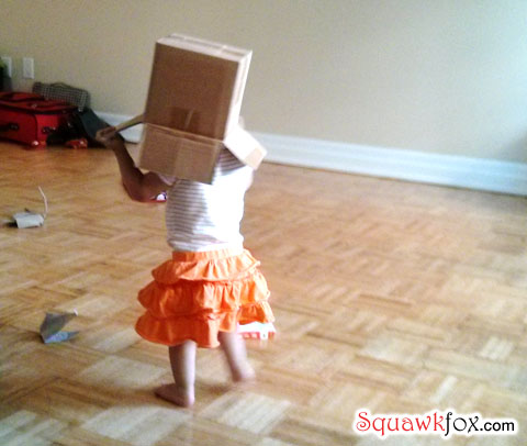 She's not getting an iPhone. The cardboard box will have to do.