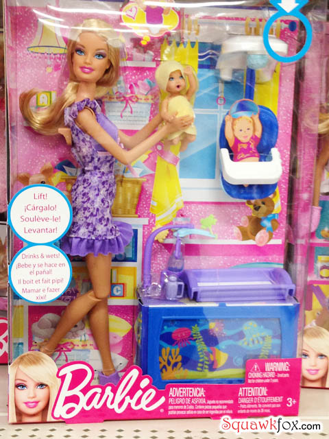 "Barbie raises baby. Perhaps the baby ""drinks & wets!?"""