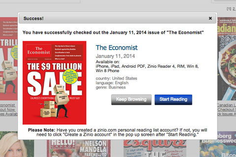Checking out The Economist through the Toronto Public Library using Zinio.