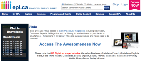 Use Zinio and your library card to read digital magazines for free