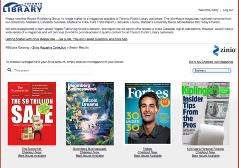 A small selection of business magazines are available through Zinio and the Toronto Public Library.