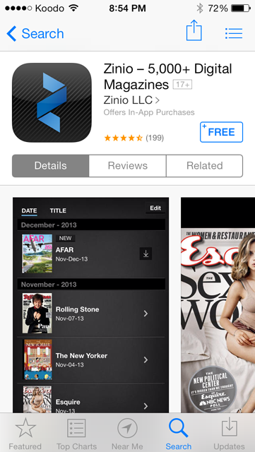 Use your library to access digital magazines for free with the Zinio app.